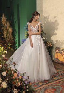 Style #2035L, ball gown wedding dress with floral appliqueand cap sleeves, available in ivory on nude base, ivory