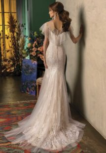 Style #2015L, mermaid wedding dress with butterfly sleeves, available in dark ivory, ivory