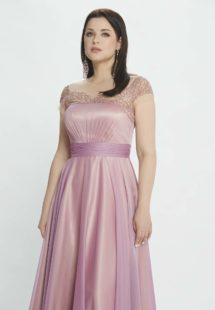 Style #M520, A-line evening dress with embroidery and cap sleeves, available in burgundy, pink-lilac, grey, coral, ivory