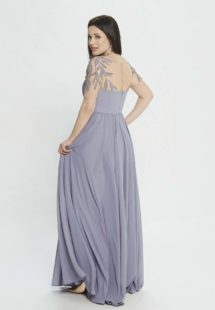 Style #M517, A-line evening dress with embroidered sleeves and illusion back, available in pink, powder, grey-light-blue (smoke blue), cherry, lilac, black, ivory