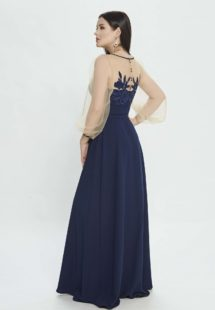Style #M533, maxi dress with bishop sleeves and belt at waist, available in blue, red, pink , ivory