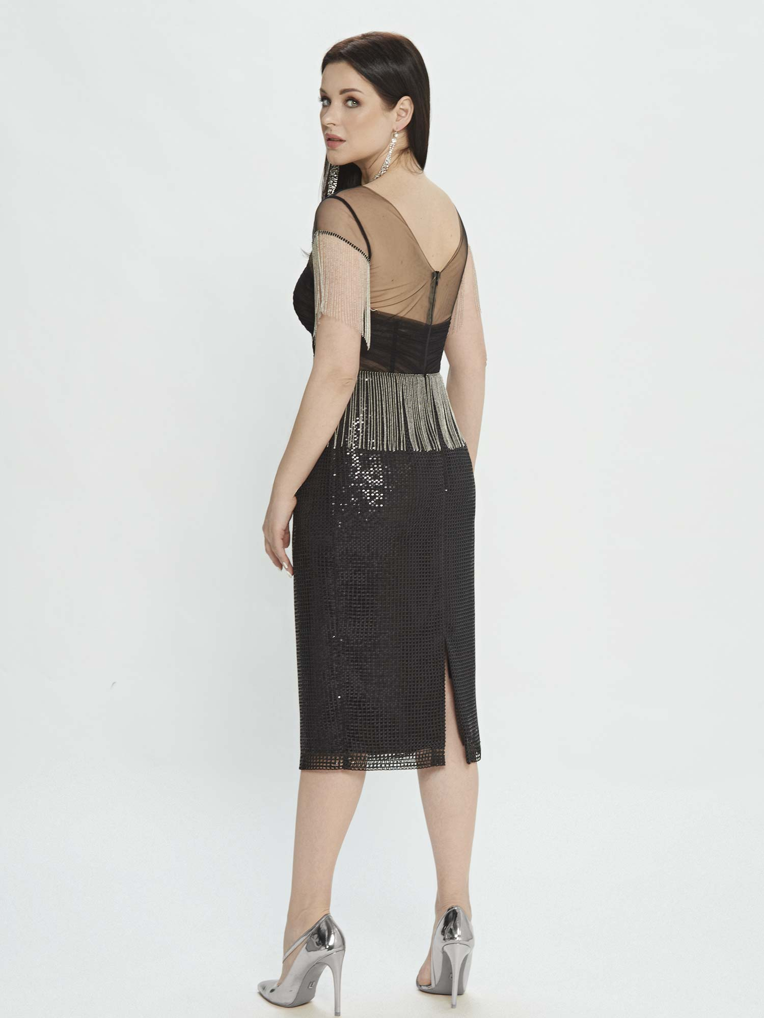 Style #M508, sheath dress with fringe and sequinned embroidery, available in black