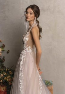 Style #2024L, A-line wedding dress with plunging neckline, available in ivory-pink, ivory