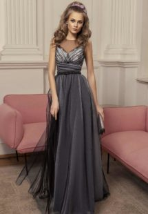 Style #500, A-line evening gown with illusion neckline and ruched bodice, available in black