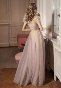 Style #501, A-line evening gown with cap sleeves and embellished bodice, available in ivory-nude, powder