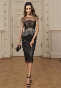 Style #508, sheath cocktail dress with fringe on the waist and sleeves, available in black