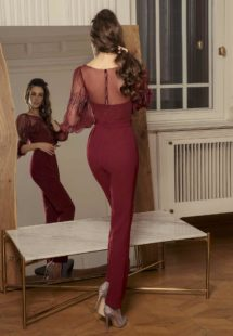 Style #509-8, jumpsuit with bishop sleeves and zig zag embroidery, available in black, powder, burgundy, ivory