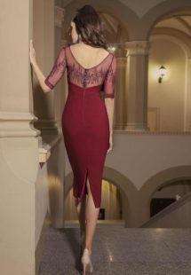 Style #510, sheath midi dress with zig zag embroidery and sweetheart bodice, available in black, powder, burgundy, ivory