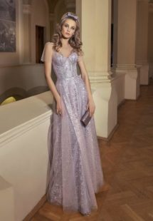 Style #511, maxi dress with sweetheart bodice and floral embroidery, available in powder, lilac, gray, ivory