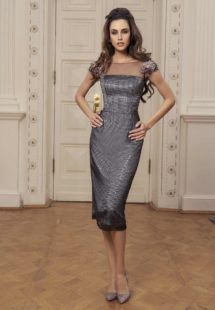 Style #513, sheath midi dress with straight neckline and floral cap sleeves, available in black-grey