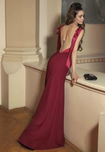 Style #515, maxi dress with deep U neckline and low plunging back, available in ivory, burgundy