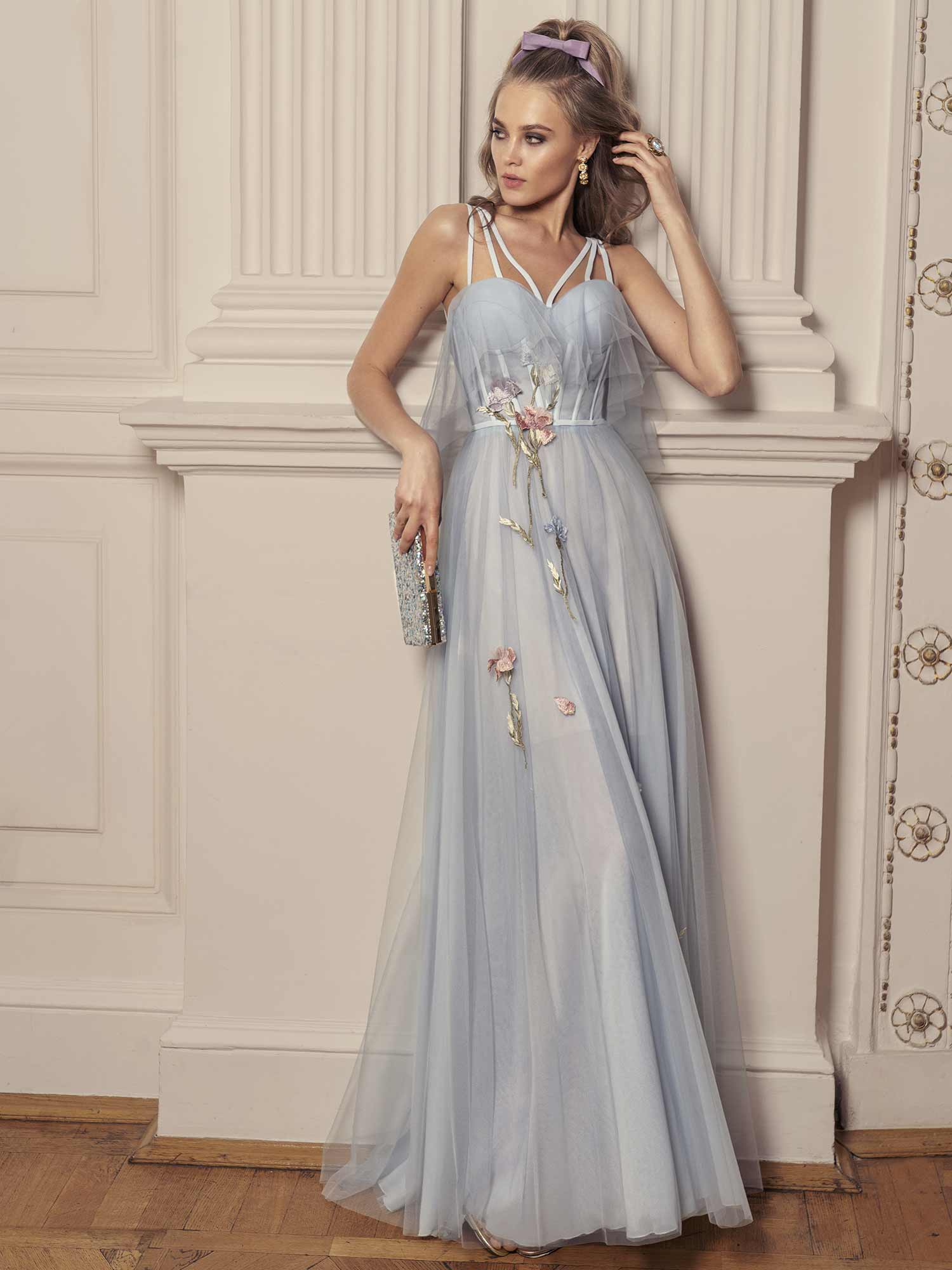 Style #516, maxi dress with bustier bodice and floral embroidery, available in ivory, black, powder, lilac, cherry, grey-light-blue (smoke blue), grey-blue, pink