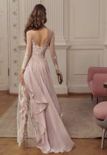 Style #519, maxi dress with embroidered overlay and train, available in ivory, pink