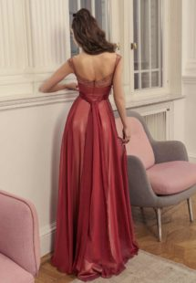 Style #520b, A-line evening gown with unique straps and straight neckline, available in ivory, grey-pink, burgundy, grey, coral