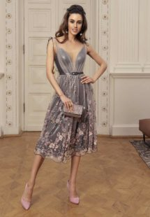 Style #521, midi dress with plunging neckline and floral embroidery, available in grey-pink