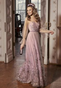 Style #522, maxi dress with bishop sleeves and scalloped hem, available in powder, lilac, nude, pink, grey