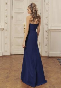 Style #525, maxi dress with deep v neckline and slit up leg