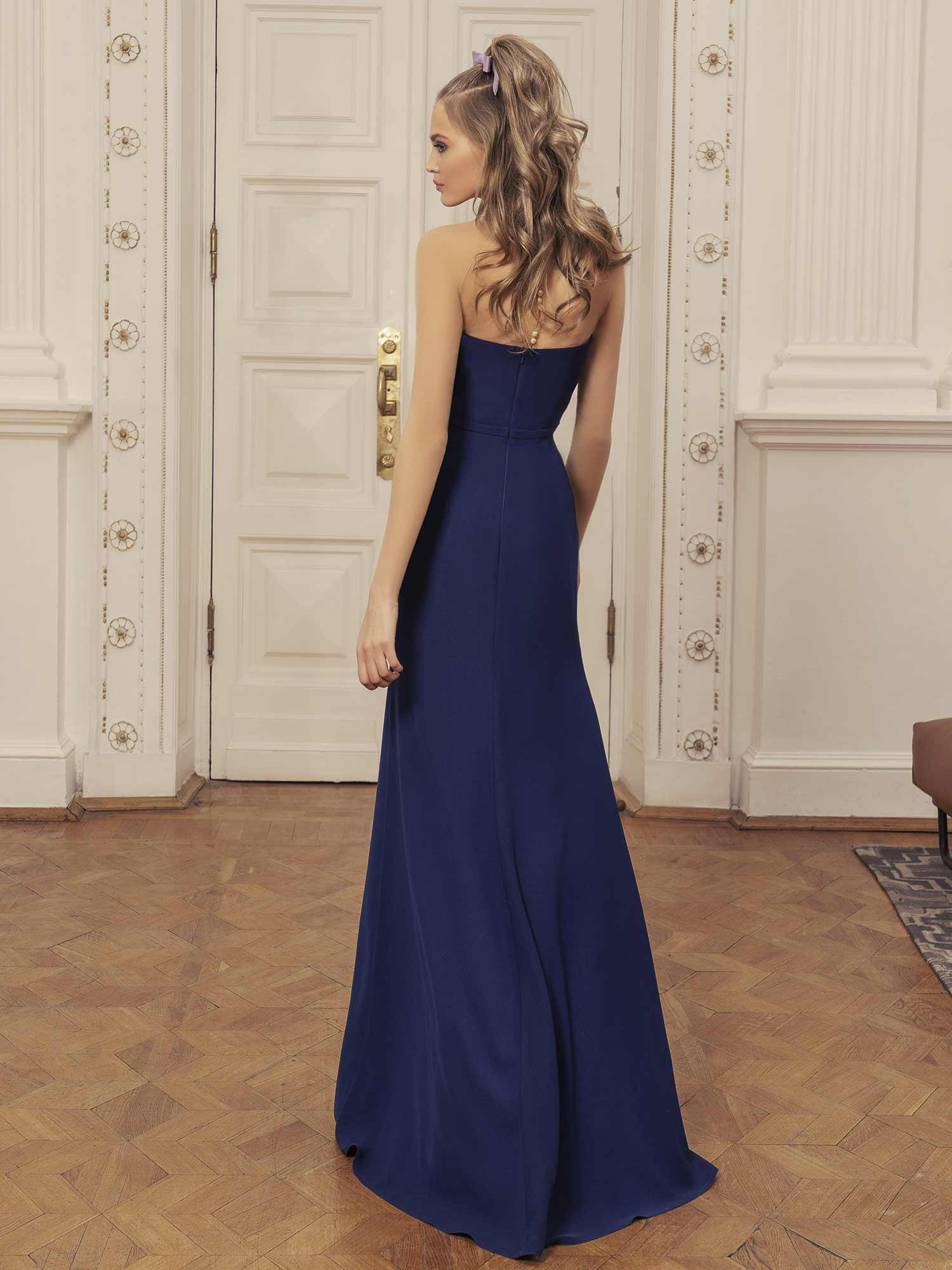 Style #525, maxi dress with deep v neckline and slit up leg, available in pink, red, blue, ivory