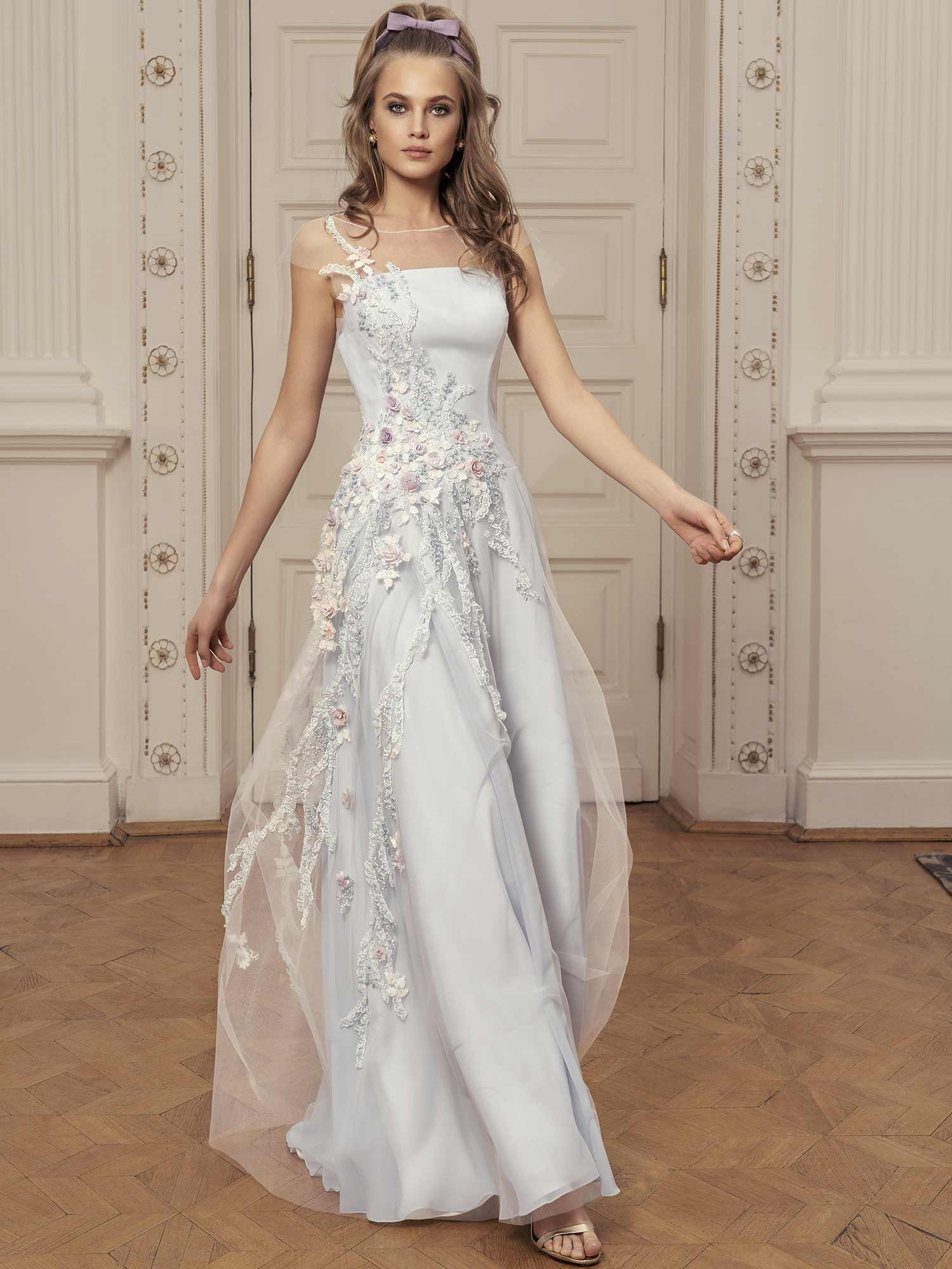 Style #526, maxi dress with sweetheart bodice, zig zag embroidery, and three quarter bishop sleeves with ruffled cuffs, available in ivory, lilac, sky-blue