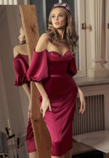 Style #531, cocktail dress with straight neckline and embellished cups, available in burgundy, ivory
