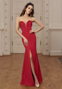 Style #532, maxi dress with plunging neckline and slit up leg, available in pink, red, blue, ivory