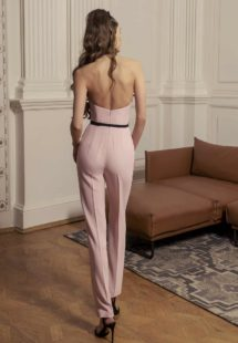 Style #534-8, jumpsuit with floral appliqué and sheer black halter straps, available in pink, red, blue, ivory