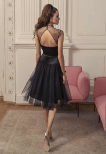 Style #535, midi dress with keyhole back and sheer black high neck, available in black, powder, ivory
