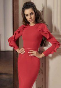 Style #538, sheath cocktail dress with long sleeves that feature ruffles, available in black, powder, raspberry, ivory
