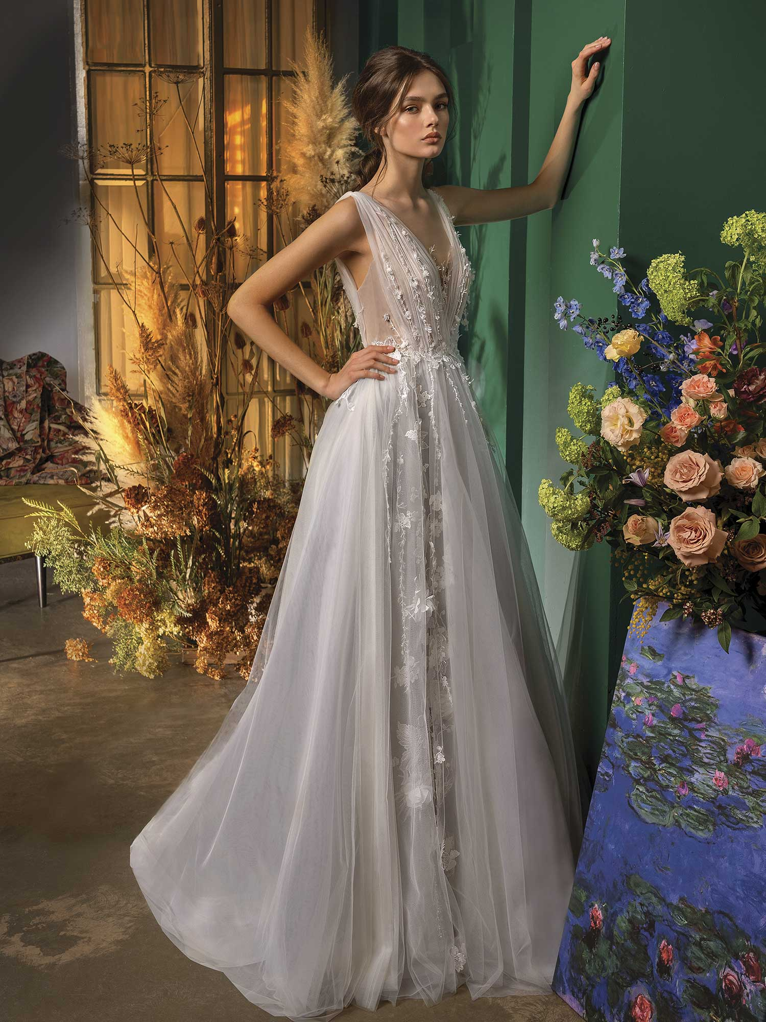 Style #2033L, A-line wedding dress with deep V neckline, available in ivory-grey, ivory, ivory-pink