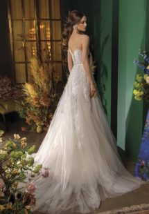 Style #2036L, strapless wedding dress with embroidered bodice, available in ivory