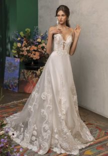 Style #2029L, A-line wedding dress with embroidery and plunging neckline, available in ivory and dark ivory