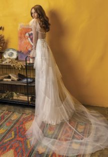 Style #2016, wedding dress with long sleeves and ruffled skirt, available in ivory