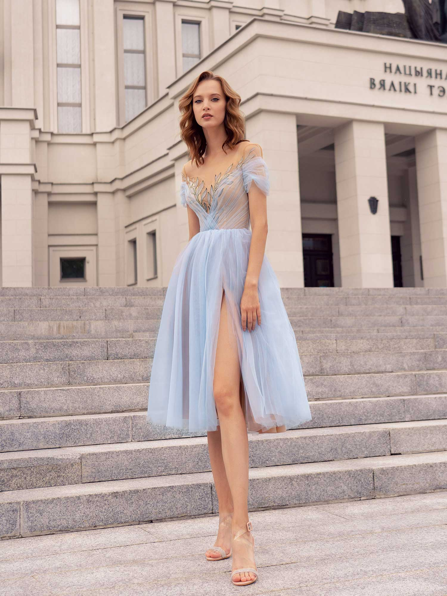 Style #545, gown with floral embroidery and slit up the leg, available in nude-blue, nude-lilac, nude-azure, nude-pink, nude-powder, nude-cherry, nude-black, ivory