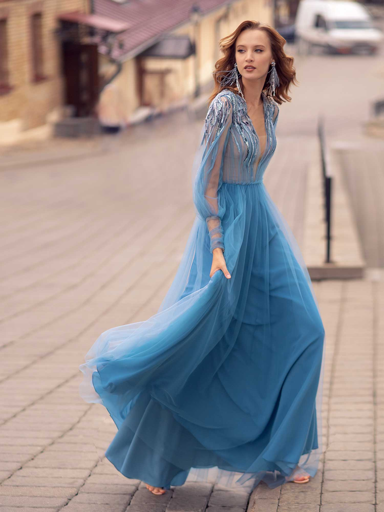 Style #555, long gown with bishop sleeves and embellishments, available in azure, azure-powder