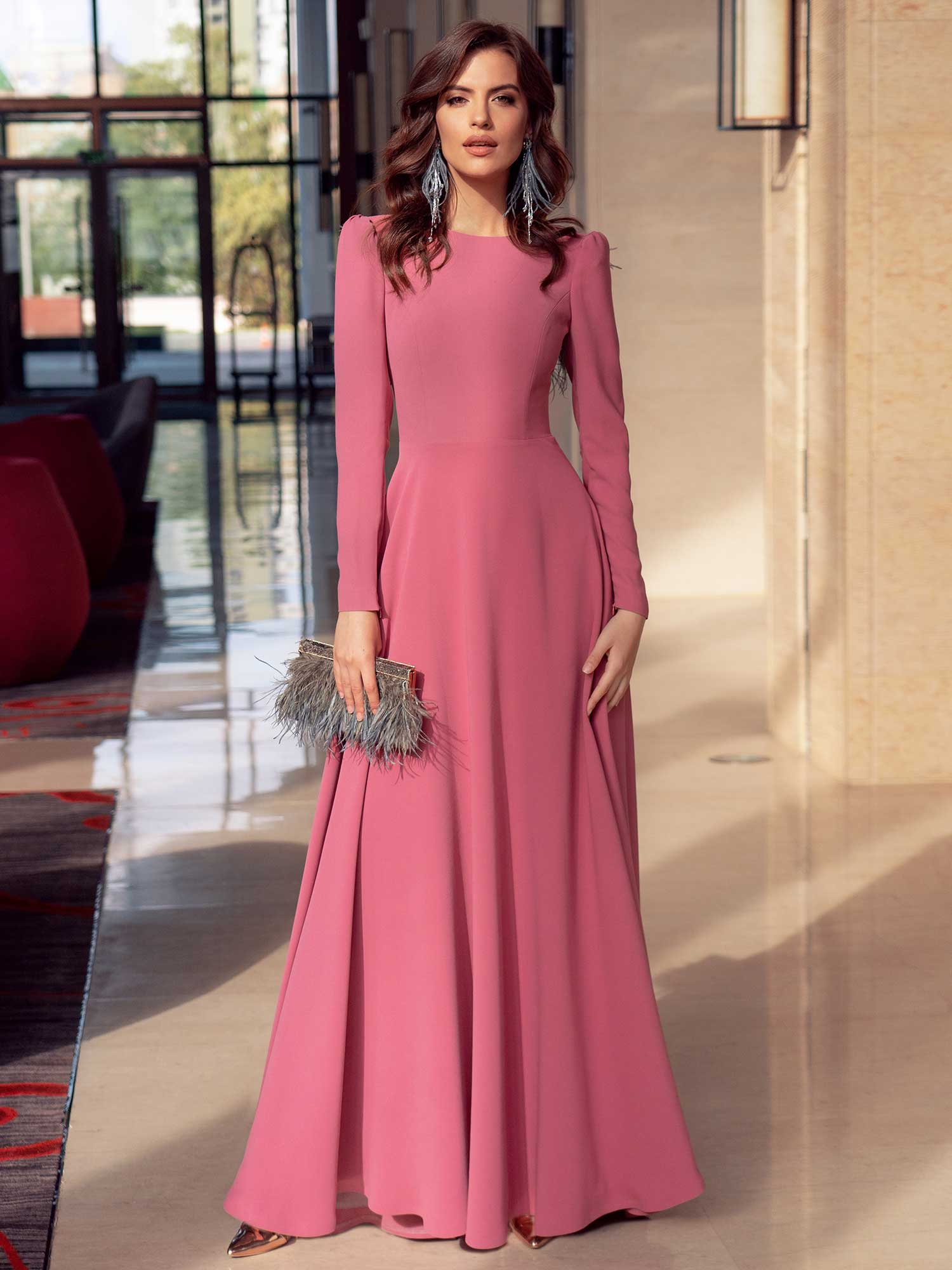 Style #569, elegant long dress with illusion back, available in lilac, red, blue, pink, lilac-brown, sea-green, ivory