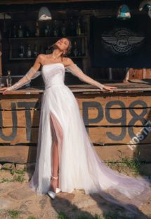 Style #12059, wedding dress with slit and off-the-shoulder sleeves, available in ivory, ivory-purple