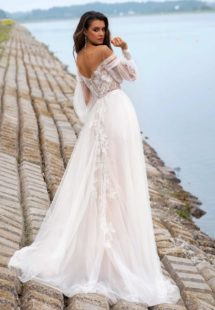 Style #12060, wedding dress with off-the-shoulder bishop sleeves, available in ivory, ivory-nude