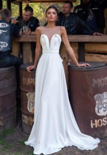 Style #12065, simple wedding dress with plunging neckline, available in ivory