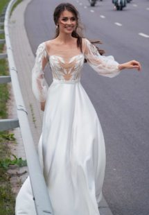 Style #12067, wedding gown with embroidery and bishop sleeves, available in ivory, ivory-nude