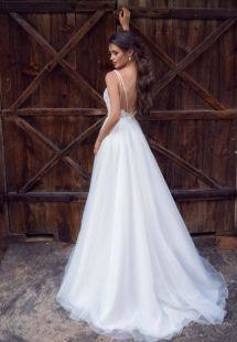 Style #12071, modern wedding dress with floral applique and low back, available in ivory, ivory-nude