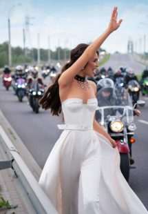Style #12074, ultra-modern wedding jumpsuit with attachable skirt, available in ivory