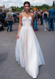 Style #12081, strapless modern wedding dress with pearl beading , available in ivory, ivory-nude