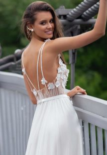 Style #12082, sheath wedding gown with spaghetti straps and floral embroidery, available in ivory, ivory-nude