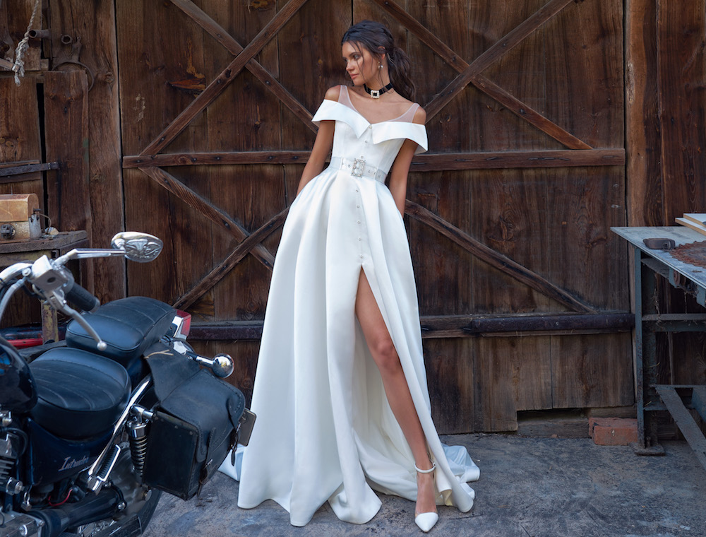 Wedding dresses with thigh-high slits