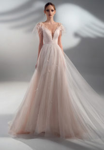 Style #2100, A-line wedding dress with feather decor and cup sleeves, available in pink, ivory