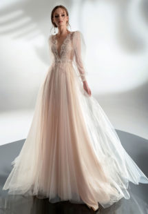 Style #2102, puff sleeve A-line wedding dress with V-plunging neckline, available in cream–nude, cream, ivory