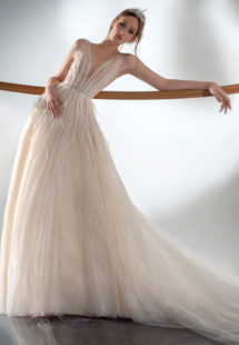 Style #2103, sparkling A-line wedding dress with V-neckline, available in ivory-nude, ivory