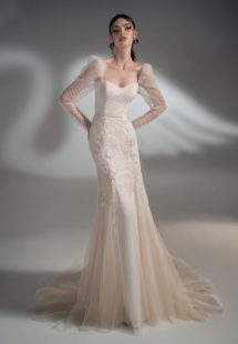 Style #2105, sparkly fit and flare wedding dress with long sleeves, available in cream