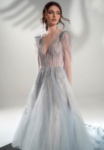 Style #2111, long-sleeve A-line wedding dress with open V-back, available in grey-blue, ivory
