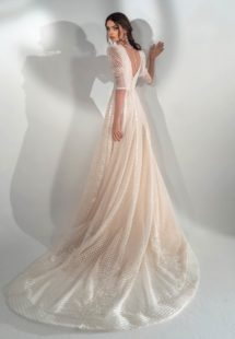 Style #2113, sequinned lace A-line wedding dress with three-quarter sleeves, available in cream, ivory